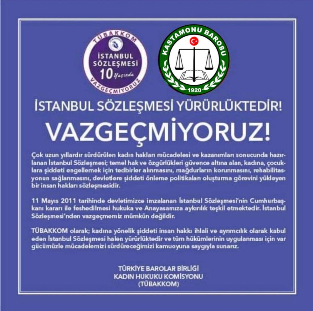 Barolardan Ortak İstanbul Sözleşmesi Açıklaması