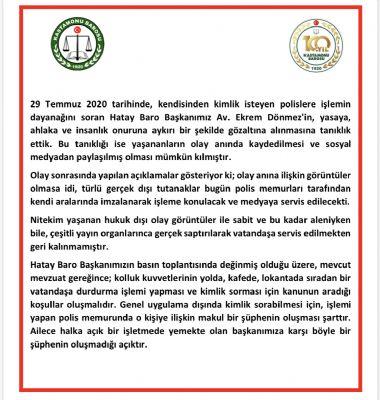 Barolardan Hatay Baro Başkanı Dönmez'e Destek