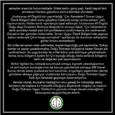 Doğu Türkistan'da Çin Tarafından Uygulanan Zulmü Nefretle Kınıyoruz